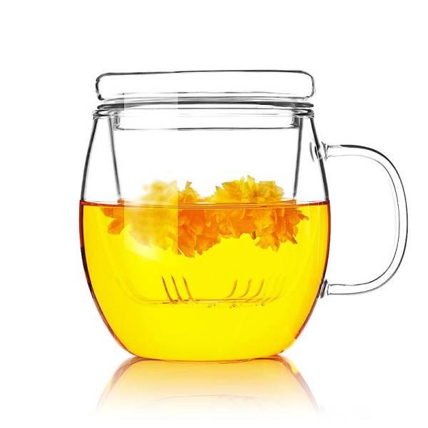 vente directe d'usine haute tasse de perfusion de thé en verre de borosilicate avec couvercle