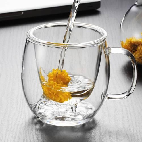 Großverkauf der Fabrik hohe Borosilikatglas Tee Infusion Tasse mit Deckel