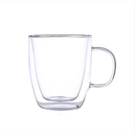 Taza de café de vidrio de pared doble resistente al calor Handblown con mango