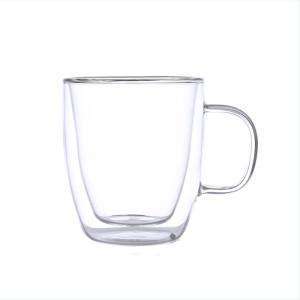 Tasse à café double paroi en verre résistant à la chaleur avec poignées