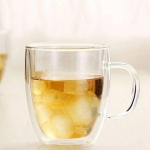 Handgeblasene hitzebeständige doppelwandige Kaffee Tasse mit Henkel