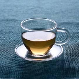Tazas de té de vidrio de porcelana con una sola burbuja