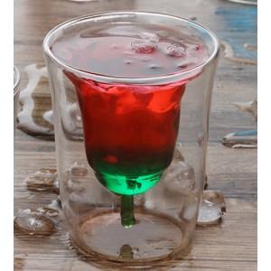 Taza de cristal formada aduana especial alta de la flor color de rosa del borosilicate