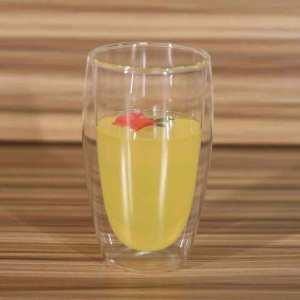 Taza de vidrio de pared doble de borosilicato resistente al calor para bebidas