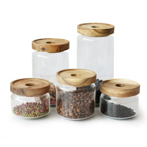 Bidon en verre transparent à côtés droits fait main pour aliments secs