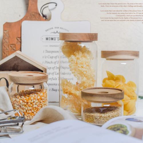Handgearbeiteter Klarglasbehälter mit geraden Seiten für Trockenfutter