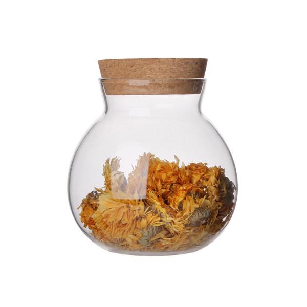 Los granos de café en forma de bulbo redondo usan frascos de vidrio con tapa