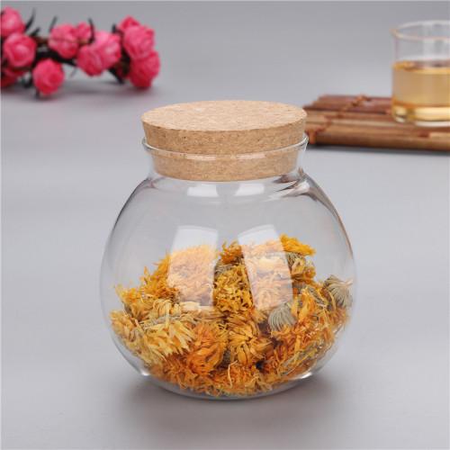 Les grains de café de forme ronde d'ampoule utilisent des pots en verre avec le couvercle