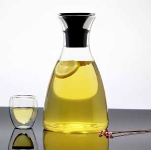 Infusor de fruta de jarra de vidrio borosilicato con tapa de flujo de acero inoxidable