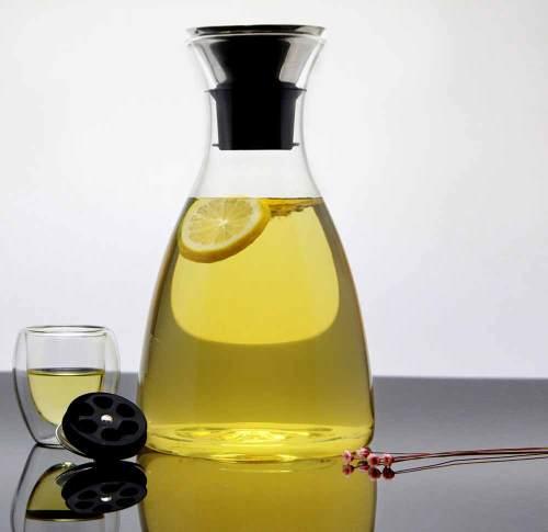 Borosilikatglas Krug Fruchteimer mit Edelstahl Flow Deckel