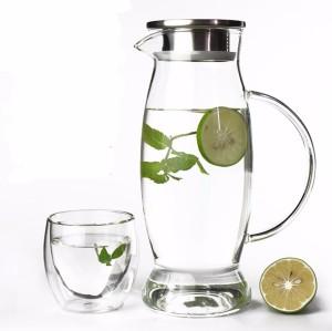 Jarra de cristal de agua de tamaño personalizado de 1.5L y 2 L con tapa infundida de filtro de acero