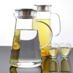 Jarra de jarra de vidrio de Borosilicato sin plomo con tapa