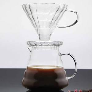Serveur de café en verre borosilicaté micro-ondable avec filtre en verre