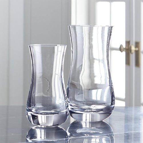 Florero de vidrio de relleno hecho a mano de decoración sutilmente curva para el hogar y el interior y al aire libre