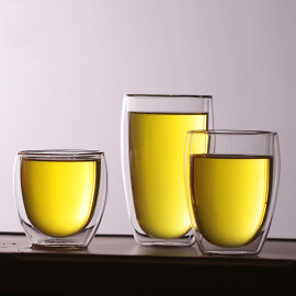 Prime taza de vidrio adiabática de doble pared a prueba de calor