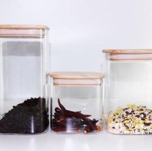 Hand Made Glass Square Candy/Coffee Storage Jars