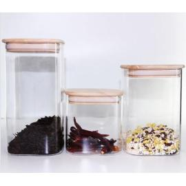 Hand Made Glass Square Candy/Coffee Storage Jars
