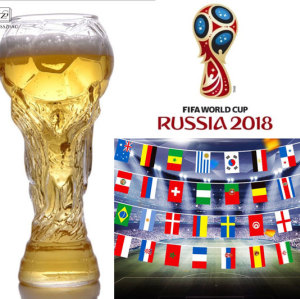 World Cup Design Crystal Glass Cup (Beer Water Mug Barware Party 450ml)