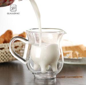 250ml Creative Cow Double Layer Glass Creamer Cup Coffee Cup Clear Glass Mug