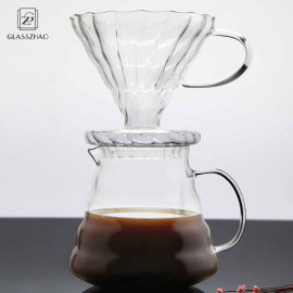Glassware Microwaveable  borosilicate glass coffee server with glass filter