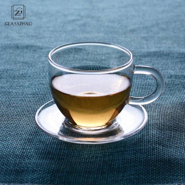Handblown glassware bubble single wall glass tea cups with handle