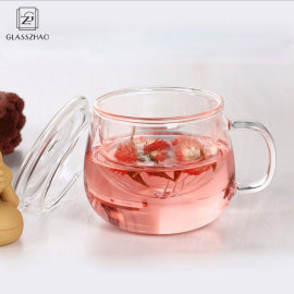 Hand Made Double Wall Glass Cup with Handle