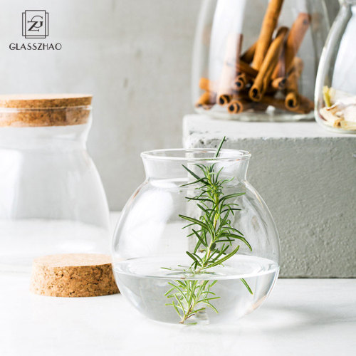Hand Made Glass Round Bulb Jars with Cork Lid for Coffee Beans