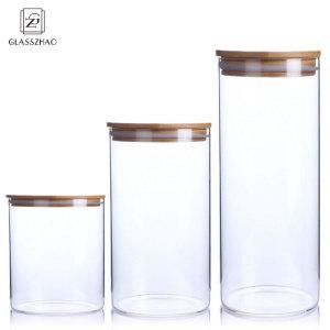 Hand Made Round Glass Food Storage Jar with Cork Lid