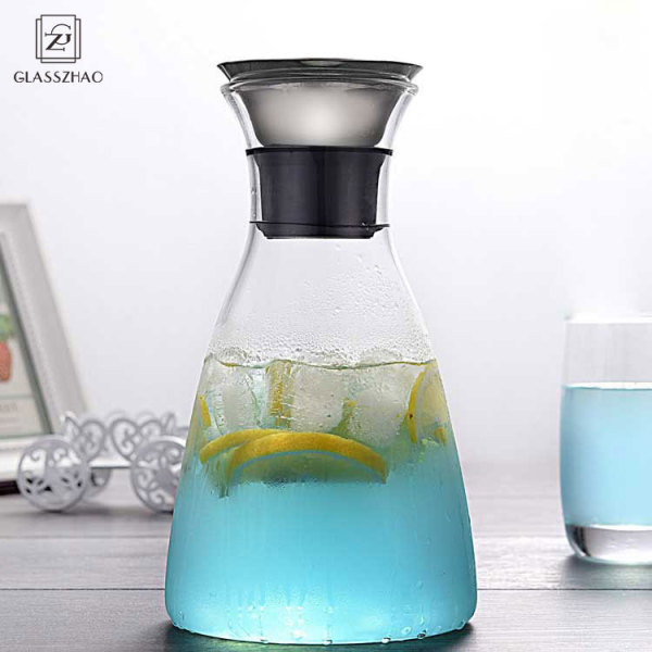 Hand Made Glass Cold Brew Jug with Stainless Steel Lid