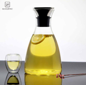 Hand Made Glass Pitcher with Stainless Steel Flow Lid