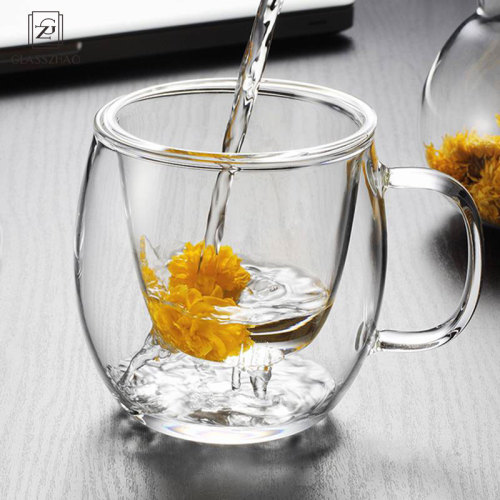 Hand Made Glass Tea Cup with Lid