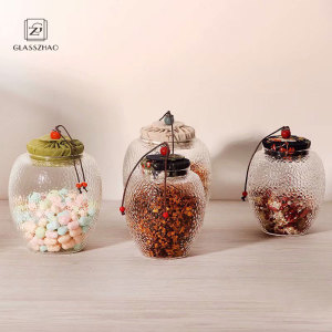 Hand Made Special Material Cover Glass Jar for Food Storage