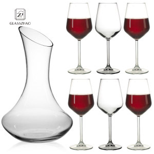Hand Blown Crystal Glass Red Wine Carafe Round Decanter With Handle