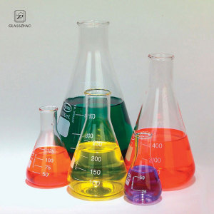 Triangular Borosilicate Glass Measuring Cylinder Laboratory glassware