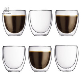 Double Wall Glass Cup For Cappuchino& Cocktail Espresso