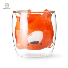 Bear Design  Mouthblown double wall glass cup without handle