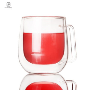 Hand Made Double Wall Glass Beverage Cup  With Handle