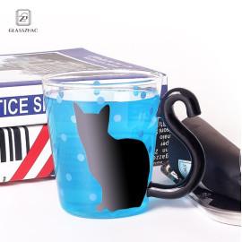 Glassware single wall cat design  glass cup
