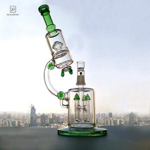 Big Bong Green Water Pipe Bubbler Recycler Smoking Hookah Microscope Heady