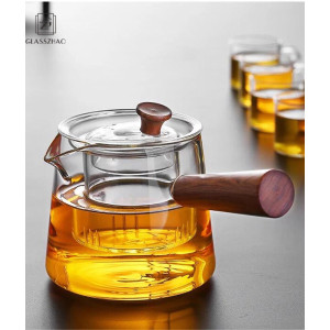 Hand Crafted Heat Resistant Glass Teapot with Wooden Handle