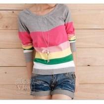 women's preppy style stripe slim long-sleeve sweater basic shirt thin sweater outerwear