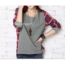lady Long Sleeve plaid Bottoming Shirt pullover woman's sweater