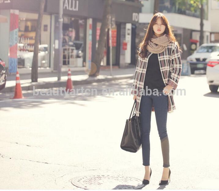 Fashion Plaid Pattern Winter Cardigan Knitted Sweater Women Casual coat JH-SW-058