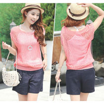 2014 new sweet candy 7 color sweater women loose Crochet knitted blouse wears batwing hollow pullover JH-SW-051