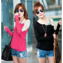 2014 New Autumn Women's Long-sleeve Bats Shirts O-neck Lace Loose Pullover Sweater JH-SW-055