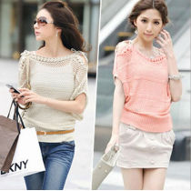women strapless short-sleeve shirt batwing sleeve sweater cutout loose pullover JH-SW-056