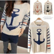 Vintage Women Stripe Navy Anchor Knit Sweaters Pullover Jumper JH-SW-065
