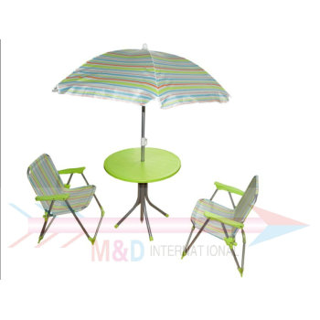 Beach table and chairs set with umbrella