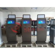 Slim Lobby Indoor Bill Payment Kiosk Terminal With QR Code Reader Receipt Printer Logo Light Box