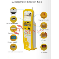 Hotel Check In Kiosk With Bank Card reader Pin Pad Card Dispenser